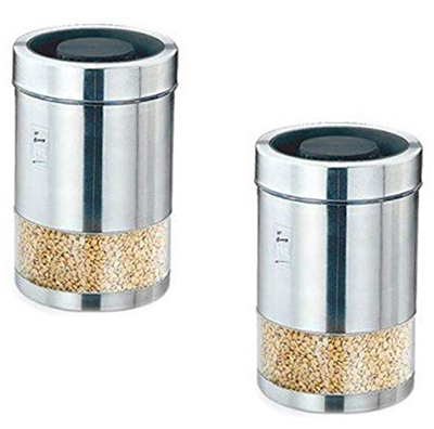 Jvl Stainless Steel Air Tight Kitchen Storage Magic Twister Canister 2pcs