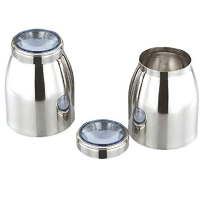 Jvl Stainless Steel Air Tight Kitchen Storage Pot Canister Container Jar 2 Pcs